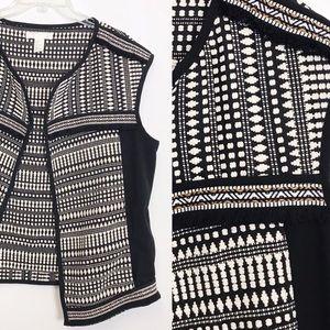 H&M Embroidered Boho Tribal Knit Vest Size 8